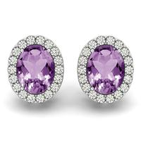 2.25 Carat Amethyst and Diamond Halo Earrings in 14K White Gold