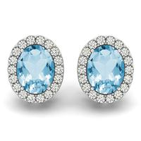 2.25 Carat Blue Topaz and Diamond Halo Earrings in 14K White Gold