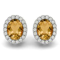 2.25 Carat Citrine and Diamond Halo Earrings in 14K White Gold