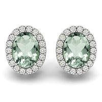 2.25 Carat Green Amethyst and Diamond Halo Earrings in 14K White Gold