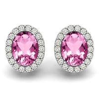 2.25 Carat Pink Topaz and Diamond Halo Earrings in 14K White Gold