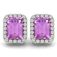 4.75 Carat Amethyst and Diamond Halo Earrings in 14K White Gold