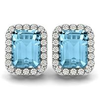 4.75 Carat Blue Topaz and Diamond Halo Earrings in 14K White Gold