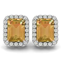 4.75 Carat Citrine and Diamond Halo Earrings in 14K White Gold