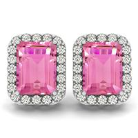 4.75 Carat Pink Topaz and Diamond Halo Earrings in 14K White Gold