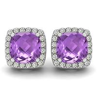 1.00 Carat Cushion Cut Amethyst and Diamond Halo Earrings in 14K White Gold