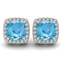 1.00 Carat Cushion Cut Blue Topaz and Diamond Halo Earrings in 14K White Gold