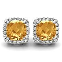 1.00 Carat Cushion Cut Citrine and Diamond Halo Earrings in 14K White Gold