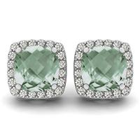1.00 Carat Cushion Cut Green Amethyst and Diamond Halo Earrings in 14K White Gold