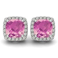 1.00 Carat Cushion Cut Pink Topaz and Diamond Halo Earrings in 14K White Gold