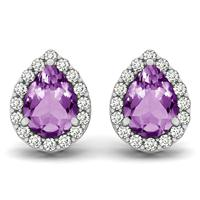 2.00 Carat Amethyst and Diamond Halo Earrings in 14K White Gold
