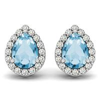 2.00 Carat Blue Topaz and Diamond Halo Earrings in 14K White Gold