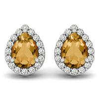 2.00 Carat Citrine and Diamond Halo Earrings in 14K White Gold