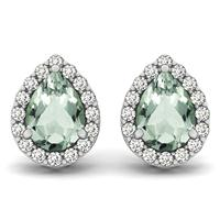 2.00 Carat Green Amethyst and Diamond Halo Earrings in 14K White Gold
