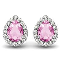 2.00 Carat Pink Topaz and Diamond Halo Earrings in 14K White Gold