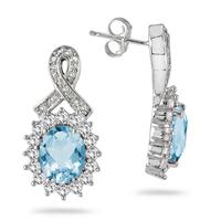 5 Carat Oval Blue Topaz, White Sapphire and Genuine Diamond Earrings in .925 Sterling Silver