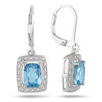 2.50 Carat Blue Topaz and Diamond Earrings in .925 Sterling Silver