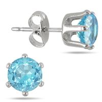 6MM Round All-Natural Genuine Blue Topaz Earrings in Rhodium Plated Brass