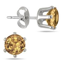 6MM Round All-Natural Genuine Citrine Earrings in Rhodium Plated Brass