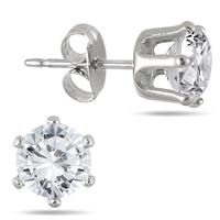 6MM Round All-Natural Genuine White Topaz Earrings in Rhodium Plated Brass