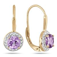 1.40 Carat TW Amethyst and Diamond Lever Back Earrings in 18K Gold Plated Silver