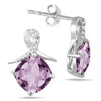 1.50 Carat TW Amethyst and Diamond Earrings in .925 Sterling Silver