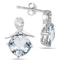 1.50 Carat TW Aquamarine and Diamond Earrings in .925 Sterling Silver