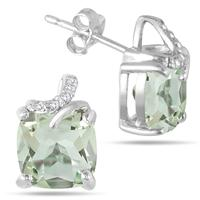 2.65 Carat Cushion Cut Green Amethyst and Diamond Earrings in .925 Sterling Silver