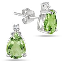1.40 Carat TW Pear Shaped Peridot & Diamond Earrings in .925 Sterling Silver
