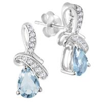 1.20 Carat TW Blue Topaz Diamond and White Topaz Earrings in .925 Sterling Silver