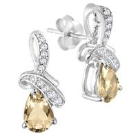 1.20 Carat TW Citrine Diamond and White Topaz Earrings in .925 Sterling Silver