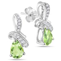 1.20 Carat TW Peridot Diamond and White Topaz Earrings in .925 Sterling Silver