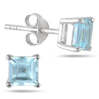 1.40 Carat TW Square Blue Topaz Studs in .925 Sterling Silver