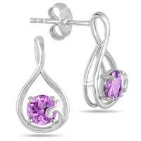 0.80 Carat TW All Natural Amethyst Earrings in .925 Sterling Silver