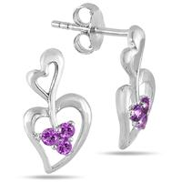 All Natural Amethyst Double Heart Earrings in .925 Sterling Silver