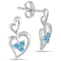 All Natural Blue Topaz Double Heart Earrings in .925 Sterling Silver