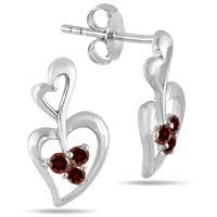 All Natural Garnet Double Heart Earrings in .925 Sterling Silver