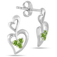 All Natural Peridot Double Heart Earrings in .925 Sterling Silver
