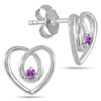 All Natural Amethyst Heart Earrings in .925 Sterling Silver