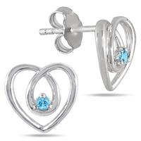 All Natural Blue Topaz Heart Earrings in .925 Sterling Silver