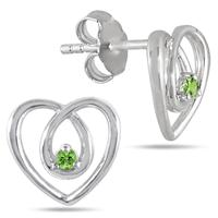 All Natural Peridot Heart Earrings in .925 Sterling Silver