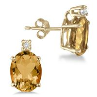 4.20 Carat Oval Citrine and Diamond Earrings in 18K Gold Plated Silver