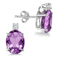 4.20 Carat Oval Amethyst and Diamond Earrings in .925 Sterling Silver