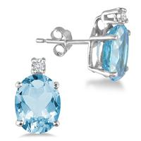 4.20 Carat Oval Blue Topaz and Diamond Earrings in .925 Sterling Silver