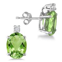 4.20 Carat Oval Peridot and Diamond Earrings in .925 Sterling Silver