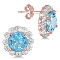3.60 Carat Blue Topaz and Diamond Earrings in 18K Rose Gold Plated Silver