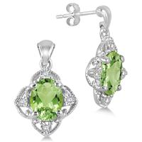 2.60 Carat All Natural Peridot and Diamond Earrings in .925 Sterling Silver