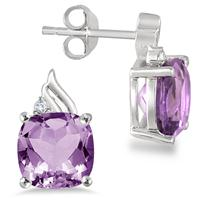 4.00 Carat Cushion Cut Amethyst and Diamond Earrings in .925 Sterling Silver