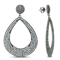 17.40 Carat TW White Topaz Earrings in .925 Sterling Silver