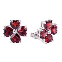 14k White Gold Diamond and Garnet Flower Earrings